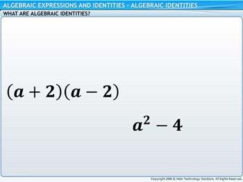 Animated video Lecture for Algebraic Identities