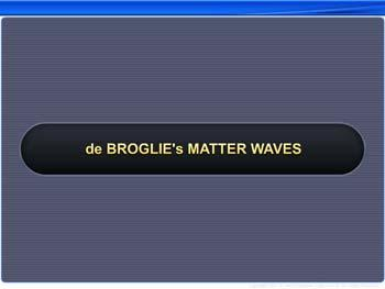 Animated video Lecture for de Broglie's Matter Waves