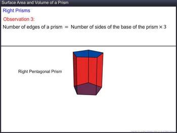 Animated video Lecture for Surface Area and Volume of a Prism