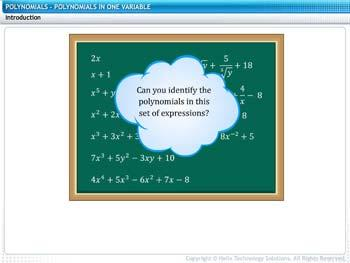 Animated video Lecture for Polynomials in One Variable