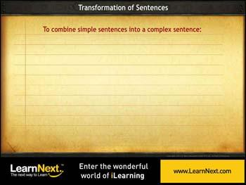 Animated video Lecture for Two Simple sentences to Complex - Transform