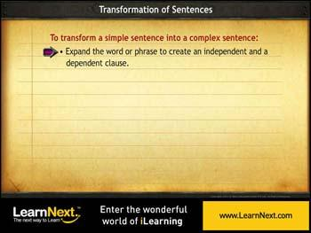 Animated video Lecture for Transformation From Simple to Complex Sentences