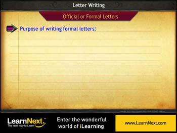 Animated video Lecture for Formal Letter - Purpose and Format