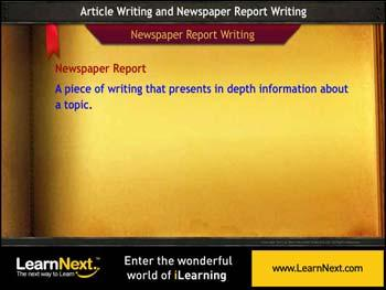 Animated video Lecture for Newspaper Report Writing - Format