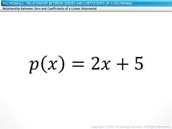 Animated video Lecture for Relationship between Zeroes and Coefficients of a Polynomial