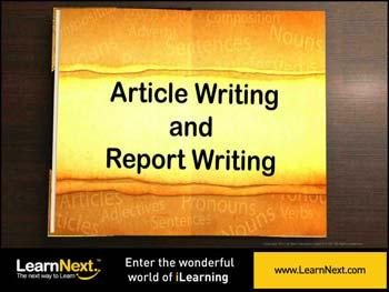 Animated video Lecture for Article Vs Report, Article - Format and Sample