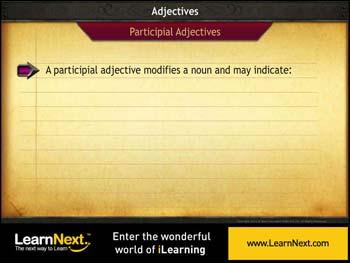 Animated video Lecture for Participial Adjective
