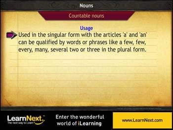 Animated video Lecture for Countable and Uncountable Nouns - Usage