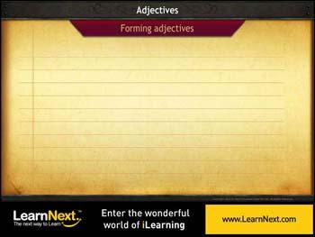 Animated video Lecture for Adjectives - Formation