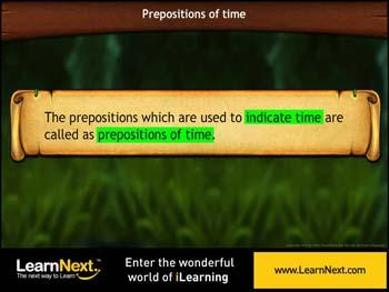 Animated video Lecture for Prepositions of time - Usage