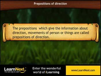Animated video Lecture for Prepositions of Direction - Usage