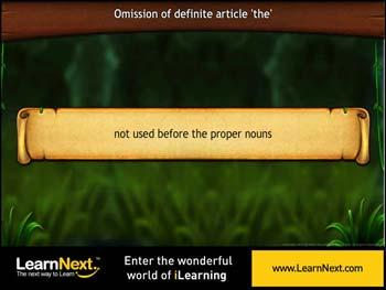 Animated video Lecture for Omission of Definite Articles