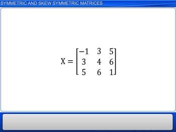 Animated video Lecture for Symmetric and Skew Symmetric Matrices