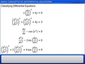 Animated video Lecture for Basic Concepts of Differential Equations