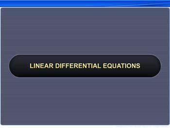 Animated video Lecture for Linear Differential Equations