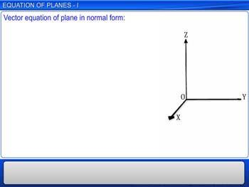 Animated video Lecture for Equations of Planes - I