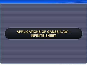 Animated video Lecture for Applications of Gauss' Law - Infinite Sheet