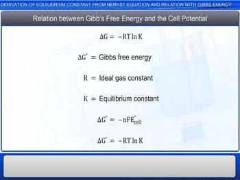 Animated video Lecture for Derivation Of Equilibrium Constant From Nernst Equation And Relation With Gibbs Energy