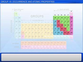 Animated video Lecture for Group 15: Occurrence And Atomic Properties