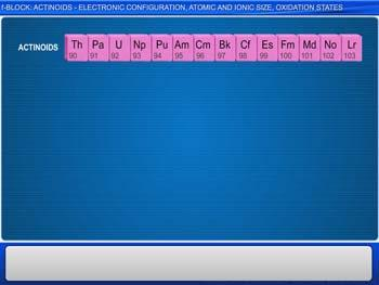 Animated video Lecture for f-Block: Actinoids - Electronic Configuration, Atomic And Ionic Size, Oxidation States