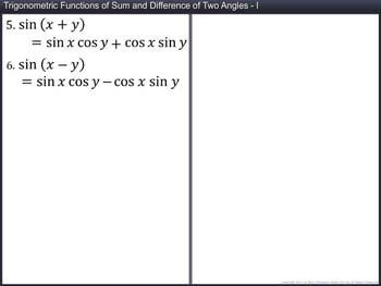 Animated video Lecture for Trigonometric Functions of Sum and Difference of Two Angles (Part  I)