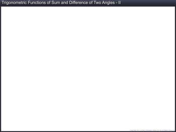 Animated video Lecture for Trigonometric Functions of Sum and Difference of Two Angles (Part II)