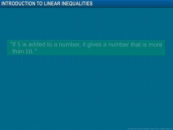 Animated video Lecture for Introduction to Linear Inequalities