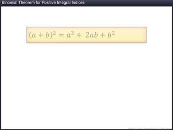 Animated video Lecture for Binomial Theorem for Positive Integral Indices