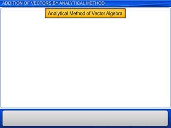 Animated video Lecture for Addition of Vectors by Analytical Method