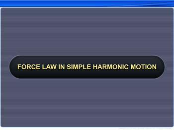 Animated video Lecture for Force Law in SHM