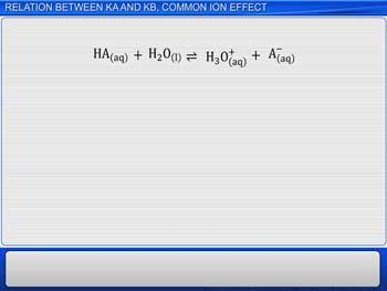 Animated video Lecture for Relation Between Ka And Kb, Common Ion Effect