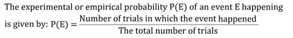 probability, empirical probability, experimental probability, trials, event, number of trials, P(E), likelihood, chance