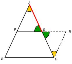 midpoint, midpoint theorem, parallel to third side, half the third side