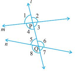 Lines, Intersecting lines, Transversal, Exterior angles, Interior angles , Corresponding angles, Alternate interior angles, Consecutive Interior angles, allied interior angles , co-interior angles