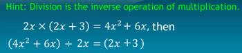 Division, Division of algebraic expression, irreducible form, common factors, common factor method, divide monomial by a monomial, divide polynomial by a monomial, divide algebraic expressions