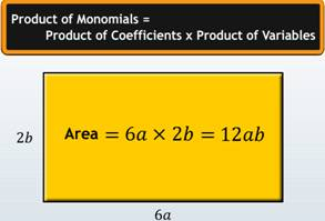 monomials, product of monomials, coefficients, variables, product of coefficients, product of variables