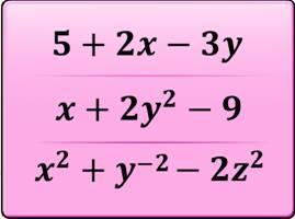 algebraic expression, monomials, binomials, trinomials, terms